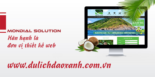 Mondial thiết kế web site dulichdaoxanh.vn